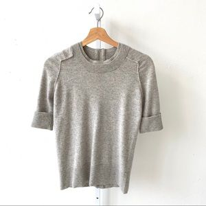 Autumn Cashmere Sweater Short Sleeve Back Zip Gray